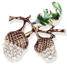 Plant Brooch Pins Jewelry Gift _Q Nut Brooch Pin Rhinestone Crystal Cute