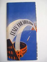 Great 1939 Travel Brochure for Italy w/ Bright Colored Cover of Blue & Orange *