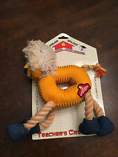 New Schoolhouse Plush Lion Rope Tug Snuggle Fetch Squeaky Squeaker Dog Toy