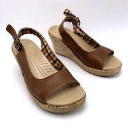 Crocs A-Leigh Size 5 Wedges Brown Leather Peep Toe Cork Heel Slingback Women's