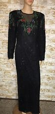 Scala Beaded Sequinned Black Multicolor Long Formal Silk Dress Gown Size Medium