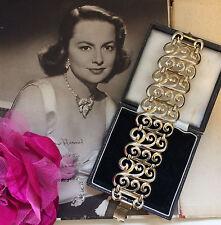 Vintage 1950s 60s Shiny Gold Tone Spiral Design Wide Bracelet. Party