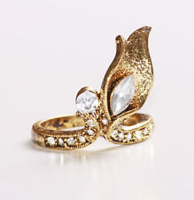 FANTASTIC FLAME EFFECT  GOLD METAL AND DIAMANTE COSTUME JEWELLERY RING (ZX44)
