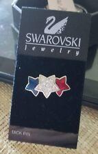 Swarovski Tack Pin 3 stars patriotic Red White Blue Enamel and white Crystals