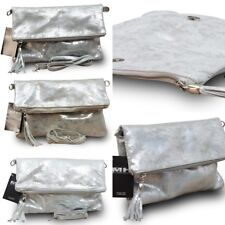 Made in Italy Luxus Damentasche Clutch Party Bag Cross Body Bag E.Leder Silber