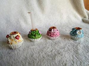 Kerzenständer CUPCAKE 4er-Set mit 8 kleinen Kerzen - Tischdeko