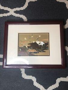 Vintage Oriental Print Framed Japanese