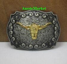 1 x mens ladies belt buckle metal jeans gold longhorn farmer farm cowboy bull