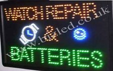 QUALITY  FLASHING  WATCH REPAIRS batteries led new  shop signs