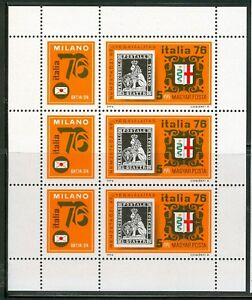 HUNGARY-1976.MiniSheet - Italia '76/Stamp on a stamp MNH! Mi 3143