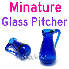 Dollhouse Miniature 1 x Blue Glass Water Pitcher for room box house model RB1252