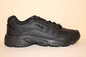 Mens Fila Memory Foam Workshift Non Skid Slip Resistant Work Shoes Black White