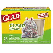 Glad Recycling Tall Kitchen Trash Bags Clear Drawstring 13 gal 45/Box 78543