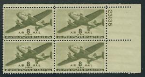 Scott # C-26...8 Cent...Plane...4 Plate Blocks...MNH