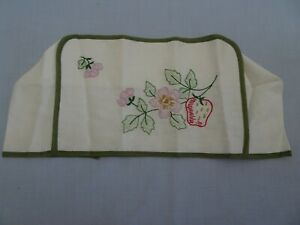 Vintage NOS Completed Hand Embroidered Toaster Appliance Cover Strawberry Design