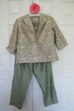 NWT Ann May 100% Silk 3 Piece Pant Suit 14 16 Jacket Shell Top Pants Green Palm