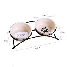 Double Bowl Raised Stand Feeding Tray Easy-Clean Suit Small Dog Cat Funny Design