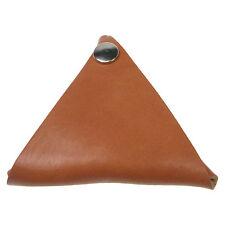Bronceado hecho a mano triangulares 100% PIEL moneda monedero doble cara