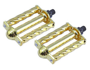 "New! Lowrider Bicycle Steel Square Twisted Pedals 1/2"" Gold."