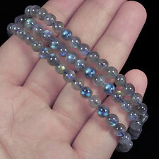 5mm Natural Labradorite Round Beads Bracelet BLBb46