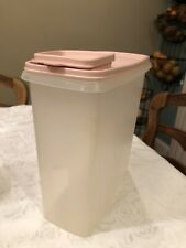 "Tupperware 1588 Cereal Keeper Store Pour Pink Lid Container 10"" Tall Chic Shabby"