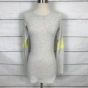 Lululemon Devotion Long Sleeve Tee Heathered Polar Cream Clarity Yellow Size 4