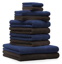 10-tlg. Handtuch Set Classic - Premium, Farbe: Dunkelblau & Dunkelbraun, 2 Seift