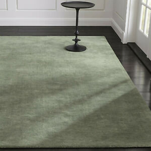 Area Rugs 9' x 12' Baxter Sage Green Hand Tufted Crate and Barrel Woolen Carpet