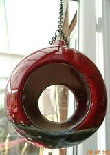 NEW Red hanging ceramic bird feeder