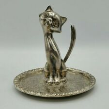 """New listing Vintage Siamese Cat Ep Zinc Silver Alloy Kitty Engraved Ring Jewelry Holder, 3"""""""