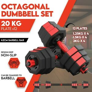20kg Adjustable Dumbbell Set Weights Dumbbells Barbell Home Gym Equipment