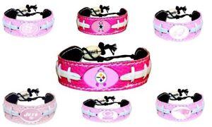 Official NFL Leather Football Bracelet Pink Cancer Color Choose Your Team