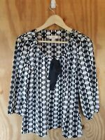 Ann Taylor Loft Women's Blouse 3/4 Sleeve Scoop Neck Tie Front Polyester.Size M