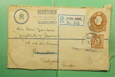 DR WHO 1914 NEW ZEALAND NELSON REGISTERED TO BELGIUM *FRONT ONLY  g13578