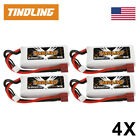 4X Tindling 2200mAh 7.4V 2S 30C Lipo Battery Deans T For RC Helicopter Car Drone