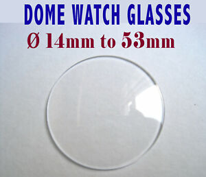 DOME WATCH CRYSTAL GLASS, Domed Pocket Watch or Wrist Watch glass, sizes 14-53mm