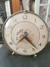 Fabulous Vintage Petit Point Ormolu Dressing Table/Vanity Clock (Working)