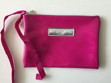 LANCOME FUSCHIA PINK GLOSSY FAUX LEATHER COSMETIC BAG CLUTCH NEW