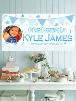 Large Personalised Christening Banner Photo Blue Boys Baptism + FREE Balloons