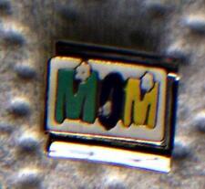 """MOM IN MULTI-COLORS"" ON WHITE   ITALIAN 9MM CHARM-MOTHER, CHILDREN"