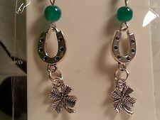 Four Leaf Clover Earrings- Fashion Jewelry Green & Silver Tone Lucky Horseshoe &