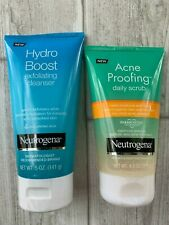 Neutrogena Acne Proofing Daily Scrub 4.2oz + Hydro Boost Exfoliating 5.0 oz NEW