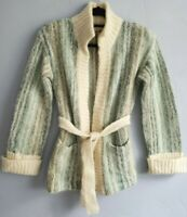 Vtg 80's Mohair Wool Belted Cardigan Sweater Jacket Size 38 Beachy Tones Gimbels
