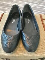 2015 Chanel Black Lambskin Quilted Ballet Flats US Sz 7
