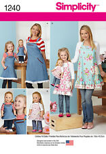 """Simplicity SEWING PATTERN 1240 Childs/Misses/18"""" Dolls Aprons"""