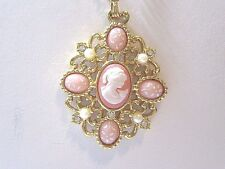 VINTAGE CLASSIC AVON NECKLACE PENDANT SWEET CAMEO FAUX PEARL RHINESTONES SIGNED