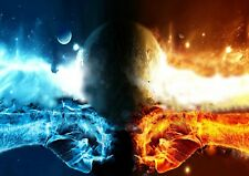 Fire VS Water Earth Space Humanity Photo Poster Print ONLY Wall Art A4