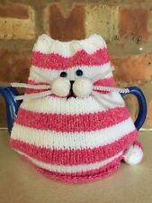 Bagpuss the Pink & White Striped Cat Tea Cosy. Hand Knitted by Maddy Knits.