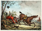 Antique Print-HUNTING-ACCIDENT-FENCE-HORSE-DOGS-Carle Vernet-Delpech-1820