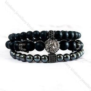 3Pcs Luxury Black Bead Bracelet Unisex Men Fashion Set King Crown Lion +GIFT BAG